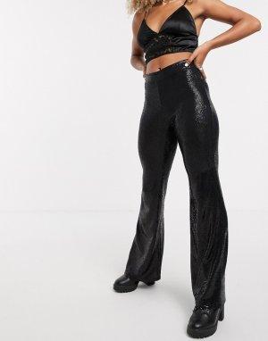 Черные расклешенные брюки с пайетками -Черный Bershka