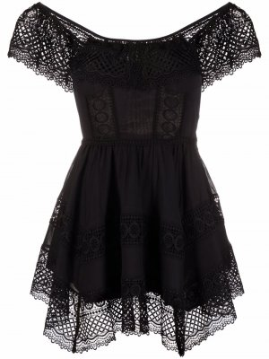 Платье с кружевной вставкой Charo Ruiz Ibiza. Цвет: черный