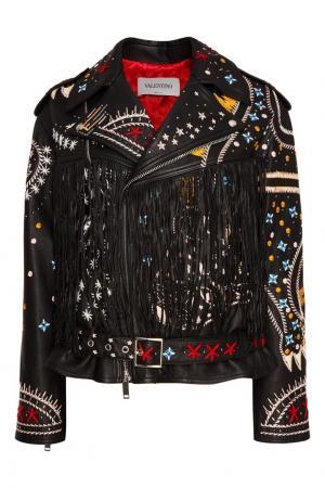 Кожаная куртка с яркой вышивкой Valentino. Цвет: черный