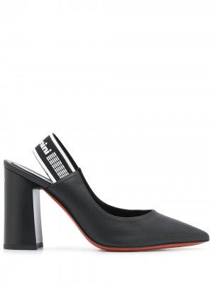 Туфли с заостренным носком и логотипом Baldinini. Цвет: черный