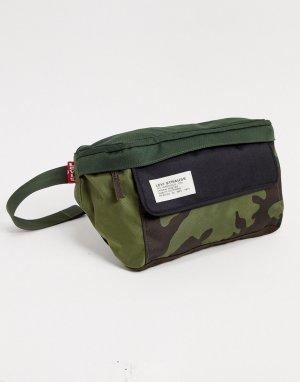 Сумка-кошелек на пояс с камуфляжным принтом Levis-Зеленый Levi's