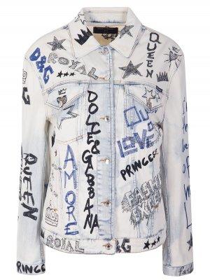 Куртка джинсовая с принтом DOLCE & GABBANA. Цвет: разноцветный
