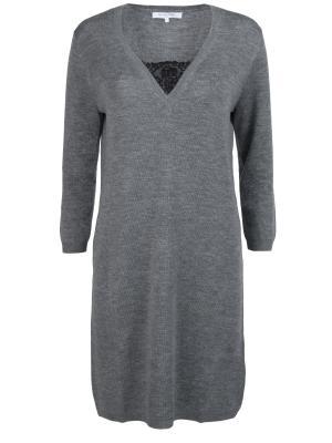 Шерстяное платье GERARD DAREL. Цвет: серый