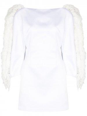Платье мини с перьями Christopher Kane. Цвет: белый