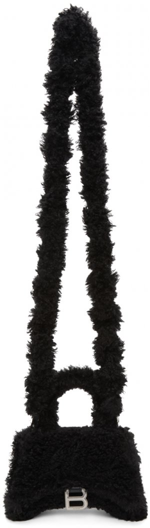 Black Faux-Fur XS Hourglass Bag Balenciaga. Цвет: 1000 black