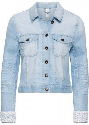 Куртка джинсовая с кружевной отделкой bonprix. Цвет: синий
