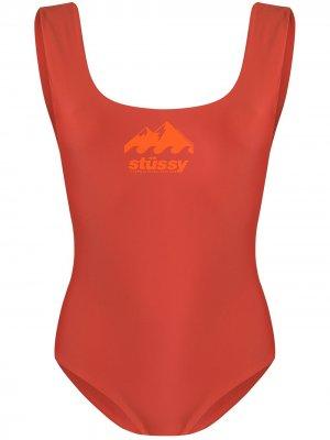 Купальник с логотипом Stussy. Цвет: оранжевый