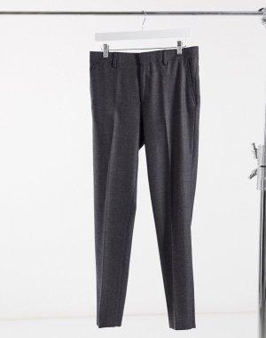 Темно-серые брюки скинни с добавлением шерсти и узором в елочку wedding-Серый ASOS DESIGN