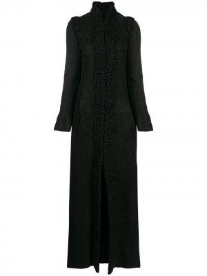Длинное пальто 1990-х годов со съемными рукавами Gianfranco Ferré Pre-Owned. Цвет: черный