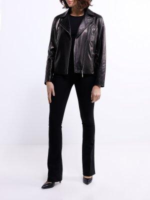 Кожаная куртка ORSA Couture. Цвет: chernyy