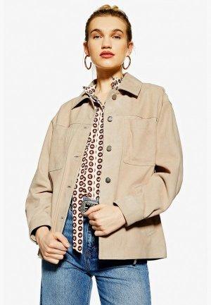 Куртка кожаная Topshop. Цвет: бежевый