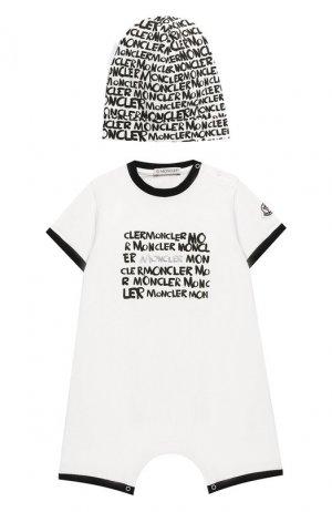 Комплект из хлопкового комбинезона и шапки Moncler Enfant. Цвет: белый