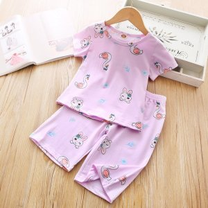 Пижама с мультяшным принтом для девочек SHEIN. Цвет: пурпурный