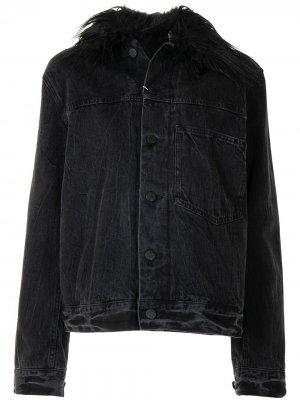 Джинсовая куртка с искусственным мехом Helmut Lang Pre-Owned. Цвет: черный