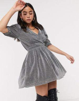 Серебристое платье мини с блестками House Of Holland-Серебристый Holland