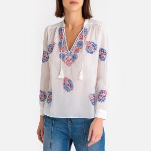 Блузка с тунисским вырезом вышивкой RYMA ANTIK BATIK. Цвет: белый