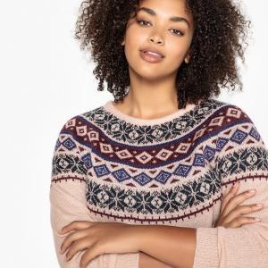 Пуловер с круглым вырезом из плотного трикотажа CASTALUNA. Цвет: жакард