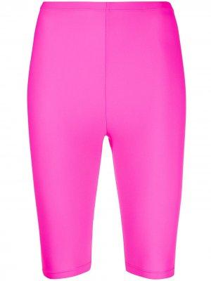 Байкерские шорты с завышенной талией Amen. Цвет: розовый