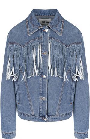 Джинсовая куртка с потертостями и бахромой MSGM. Цвет: синий