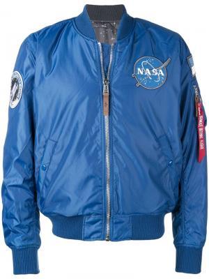 Куртка-бомбер Nasa с заплатками Alpha Industries. Цвет: синий