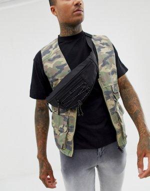 Черная сумка-кошелек на пояс со шнурком -Черный New Look