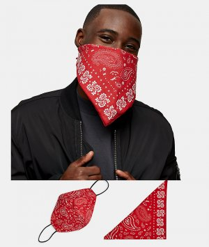 Маска для лица и бандана красного цвета с принтом пейсли Roman Kemp-Красный Topman