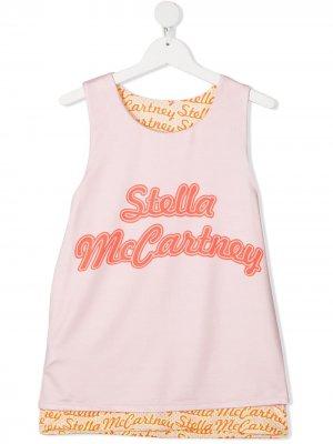 Топ без рукавов с логотипом Stella McCartney Kids. Цвет: розовый