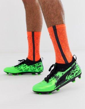 aafd44ec Зеленые футбольные бутсы Football One 19.3 Puma. Цвет: зеленый