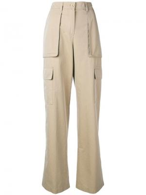 Широкие брюки карго Aspesi. Цвет: бежевый