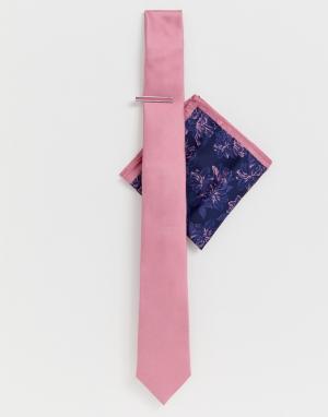 Розовый галстук с зажимом и платок для пиджака Moss London BROS. Цвет: розовый