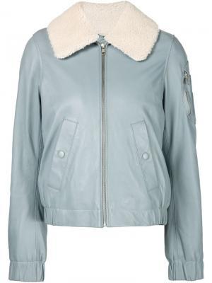 Пилотная куртка с воротником из овчины See By Chloé. Цвет: синий