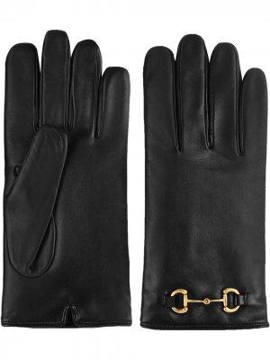 Перчатки с пряжкой Horsebit Gucci. Цвет: черный