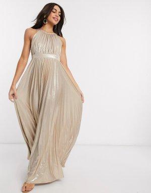 Золотистое платье макси с перекрестом на спине -Золотой Goddiva