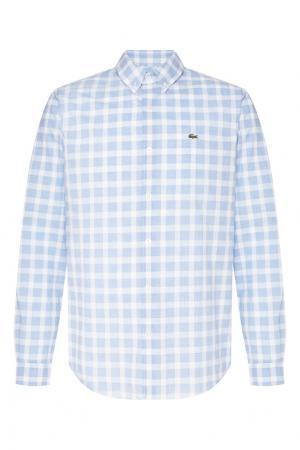 Рубашка в клетку Lacoste. Цвет: голубой