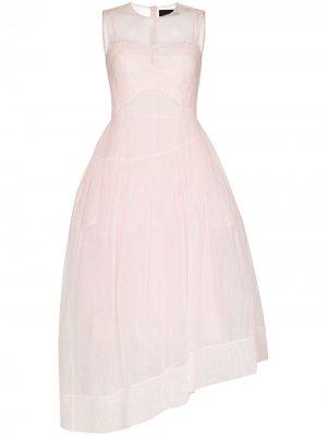 Расклешенное платье из органзы Simone Rocha. Цвет: розовый