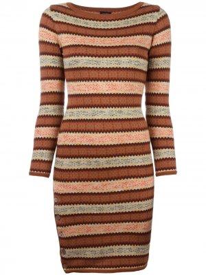 Вязаное платье с узором Fair Isle Jean Paul Gaultier Pre-Owned. Цвет: коричневый