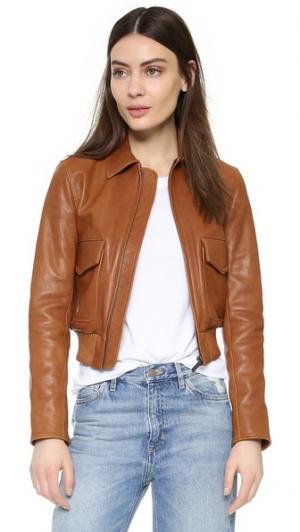 Кожаная куртка с накладным карманом Helmut Lang. Цвет: коньячный