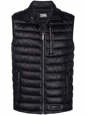 Дутый жилет на молнии Karl Lagerfeld. Цвет: черный