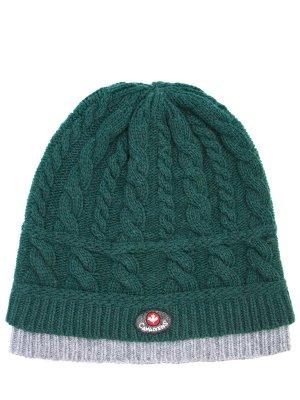 Вязаная шапка из шерсти Canadiens. Цвет: зеленый