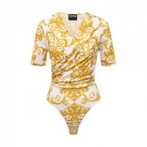 Хлопковое боди Versace Jeans Couture. Цвет: жёлтый