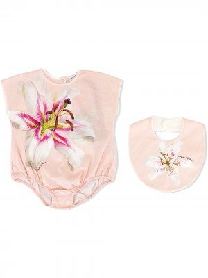 Комплект из боди и нагрудника Dolce & Gabbana Kids. Цвет: розовый