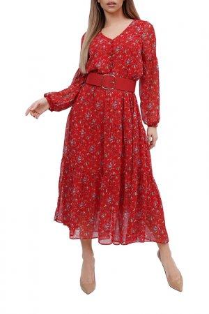 Платье Forus. Цвет: красный, золотой, белый