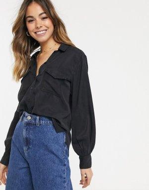 Черная рубашка с длинными рукавами -Черный Abercrombie & Fitch
