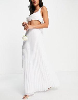 Белая плиссированная юбка макси Bridesmaid-Белый TFNC