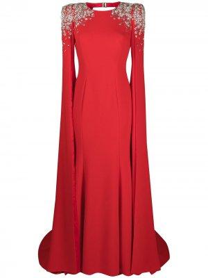 Декорированное платье с кейпом Jenny Packham. Цвет: красный