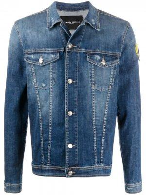 Джинсовая куртка на пуговицах с вышивкой Frankie Morello. Цвет: синий