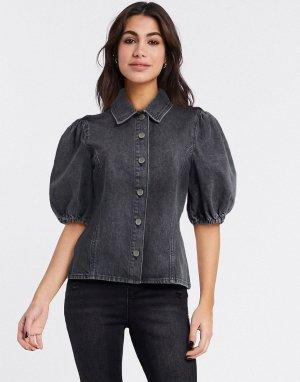 Серая джинсовая рубашка с пышными рукавами -Серый Gestuz