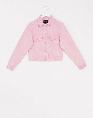 Розовая джинсовая куртка с эффектом кислотной стирки -Розовый Brave Soul
