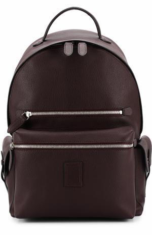 Кожаный рюкзак с внешним карманом на молнии Bertoni. Цвет: бордовый