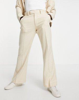 Светло-бежевые расклешенные брюки из смесовой шерсти с узором «в елочку» -Светло-бежевый цвет ASOS DESIGN